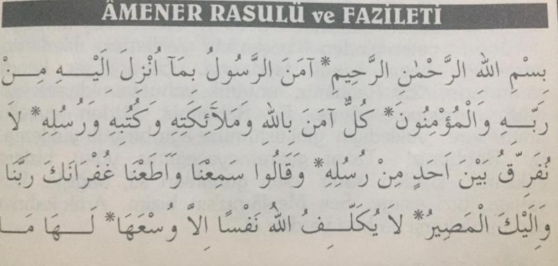 Ayet-i celile Amenerrasulü Arapça Türkçe Anlamı ve Fazileti.