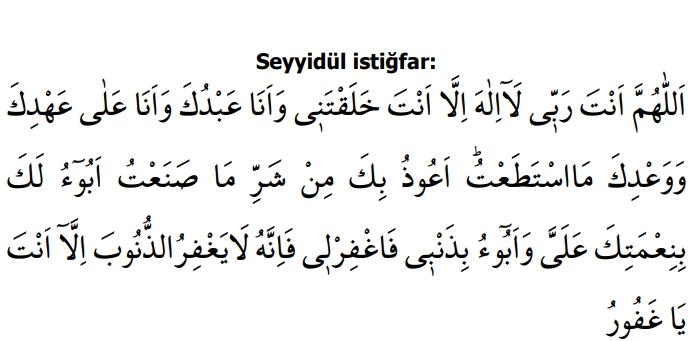 Tevbe istiğfar duası arapça,meali türkçe okunuşu.
